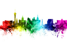Canvas print - Las Vegas Skyline Rainbow
