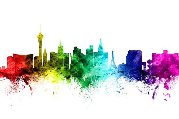 Las Vegas Skyline Rainbow - Wall Mural & Photo Wallpaper ...