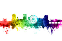 Canvas print - Brighton Skyline Rainbow