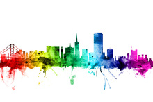 Wall mural - San Francisco Skyline Rainbow