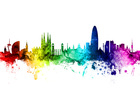 Wall mural - Barcelona Skyline Rainbow