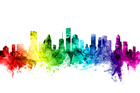Canvas print - Houston Texas Skyline Rainbow