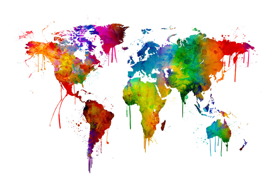 Watercolour world map wall mural photo wallpaper photowall watercolour world map gumiabroncs Images