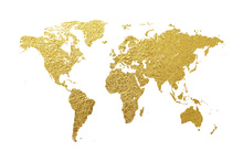 Canvas print - World Map Gold