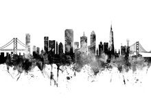 Canvastavla - San Francisco City Skyline, black and white