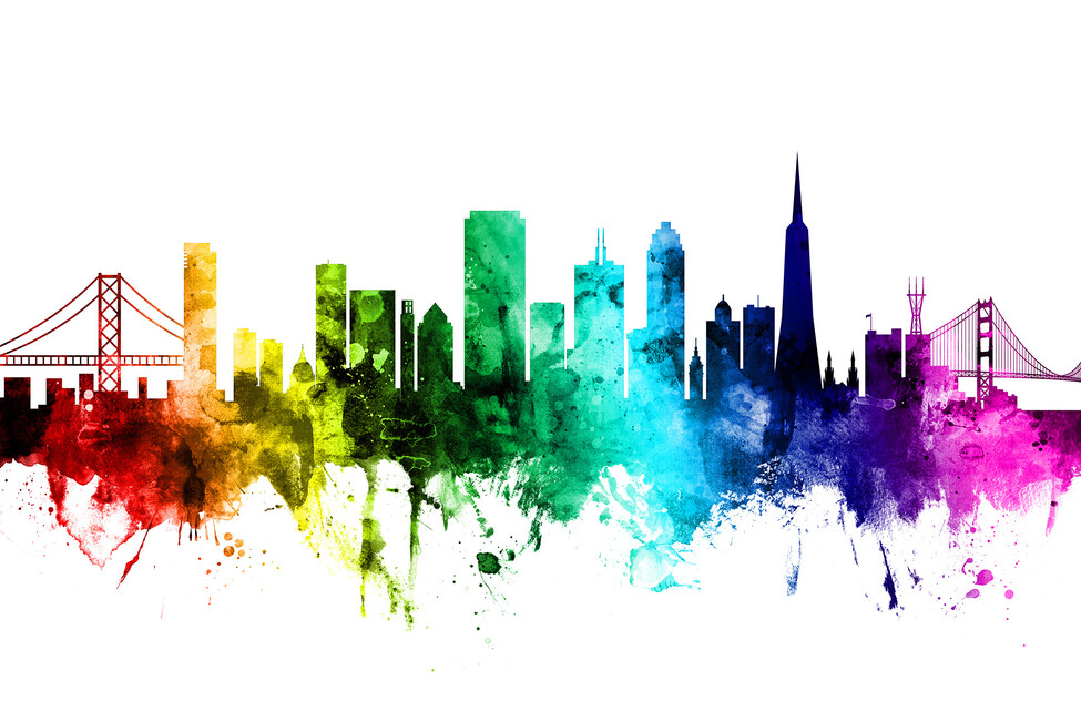 San Francisco City Skyline Rainbow Wall Mural Amp Photo