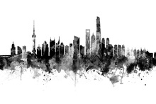 Canvastavla - Shanghai Skyline, black and white