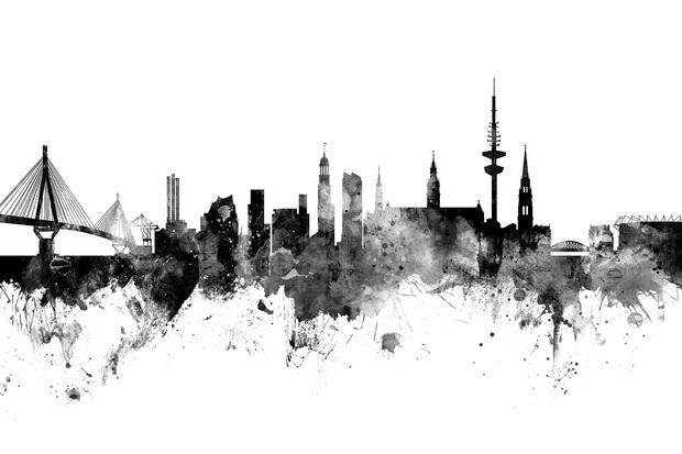 hamburg skyline black and white wall mural photo wallpaper photowall. Black Bedroom Furniture Sets. Home Design Ideas
