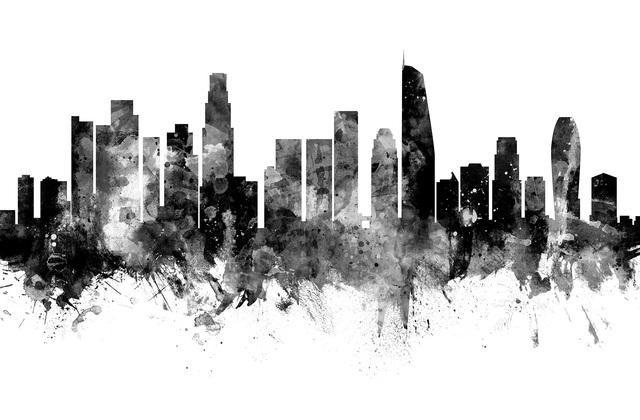 los angeles california skyline black and white 2 fototapeten tapeten photowall. Black Bedroom Furniture Sets. Home Design Ideas