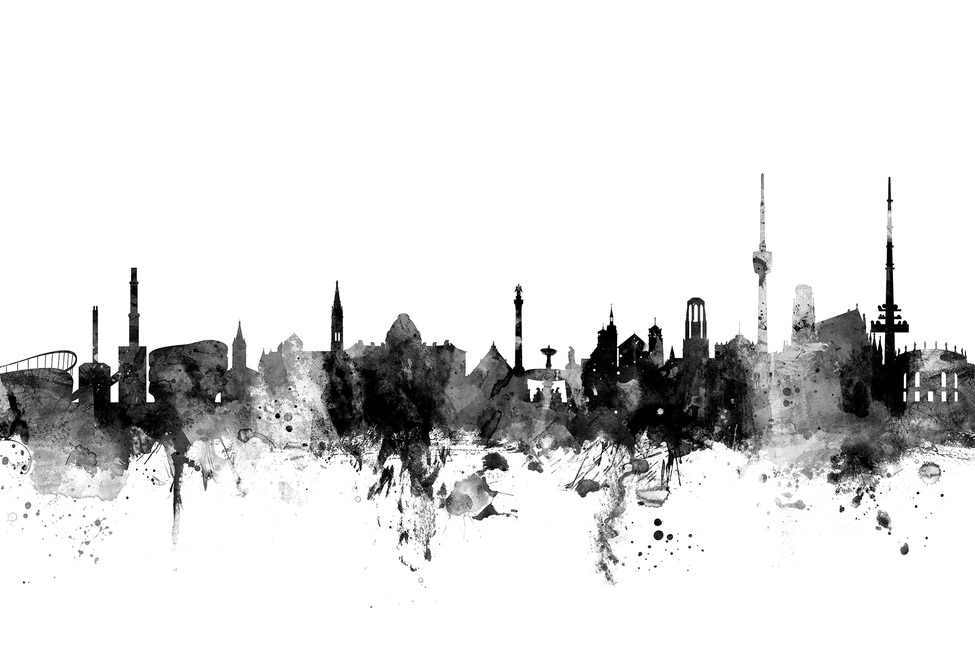 Stuttgart Skyline, black and white