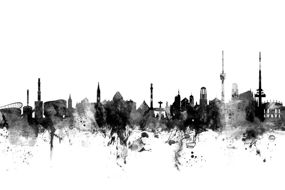 stuttgart skyline black and white bilder auf leinwand photowall. Black Bedroom Furniture Sets. Home Design Ideas