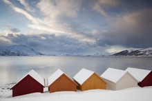 Canvas print - Wooden Huts on the Nordfjord, Norway