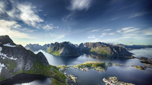 Lerretsbilde - Panoramic View of Reine in Lofoten, Norway