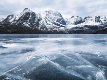 Canvas print - Frozen Water and Mountain Range