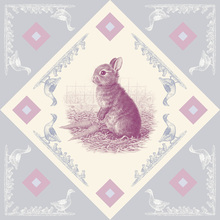 Canvas print - Rabbit, Pink Blue