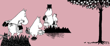 Canvastavla - Moomin - Moomin family on Adventure – Pink