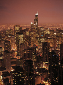 Canvas print - Red Evening in Chicago
