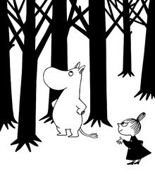 Canvastavla - Moomin and Little My in a Forest