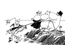 Canvastavla - Moomins Gone Fishing