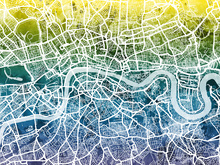 Canvas print - London Street Map Bluegreen