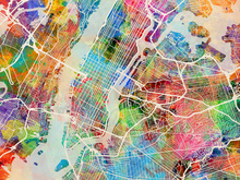 Canvas print - New York Street Map Multicolour
