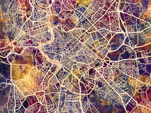 Canvas print - Rome Street Map Purple