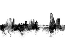 Canvas print - Basel Skyline Black