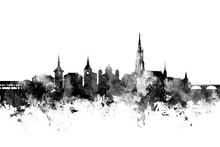 Canvas print - Bern Skyline Black