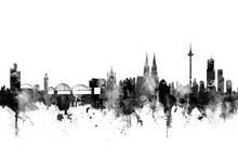 Canvas print - Cologne Skyline Black