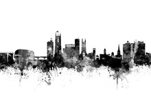 Canvas print - Derby Skyline Black