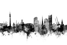 Canvas print - Dortmund Skyline Black