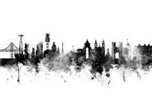 Canvas print - Lisbon Skyline Black