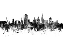 Canvas print - Rostock Skyline Black