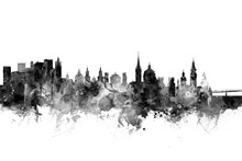 Canvas print - Salzburg Skyline Black