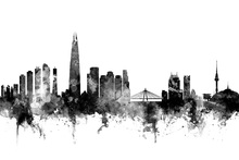 Canvas print - Seoul Skyline Black