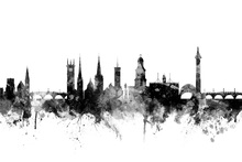 Canvas print - Shrewsbury Skyline Black
