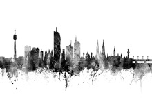Canvas print - Vienna Skyline Black