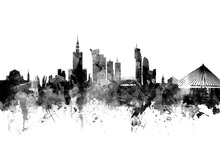Canvas print - Warsaw Skyline Black