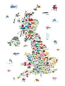Canvas print - Animal Map UK