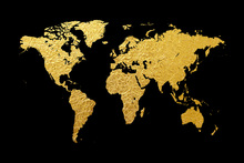 Wall mural - Gold World Map with Black Background