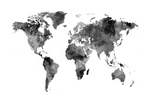 Wall mural - Watercolour World Map Black