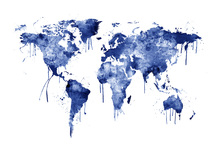 Wall mural - Watercolour World Map Blue