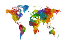 Wall mural - Watercolour World Map Multicolour