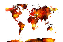 Wall mural - Watercolour World Map Orange