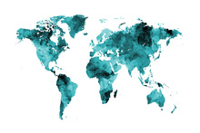 Wall mural - Watercolour World Map Turquoise