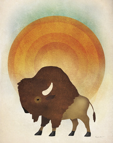 Wall mural - Blazing Sun Bison
