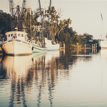 Canvas print - Sepia Shrimp Boat