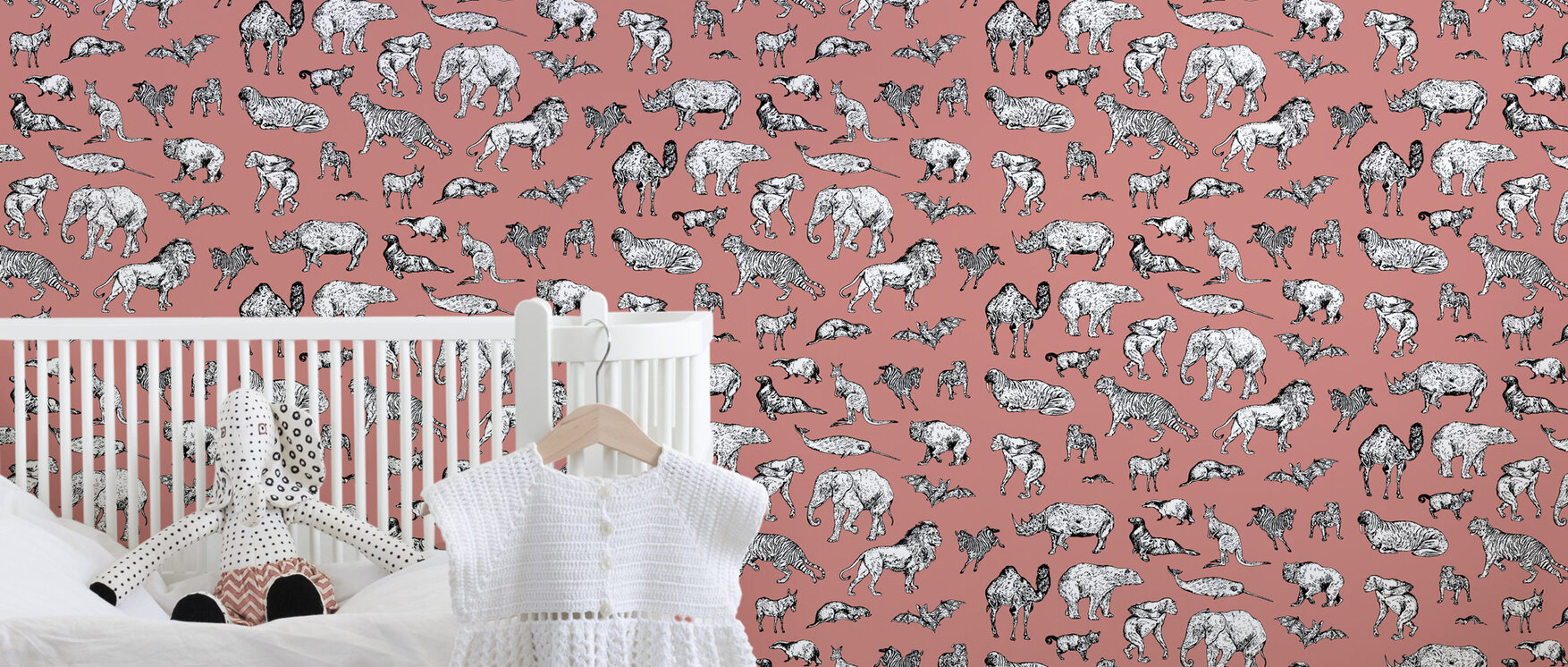 lots of animals pink tapete nach ma photowall. Black Bedroom Furniture Sets. Home Design Ideas