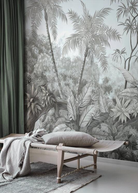 Tangled Jungle Monochrome Blue Wall Murals Online Photowall