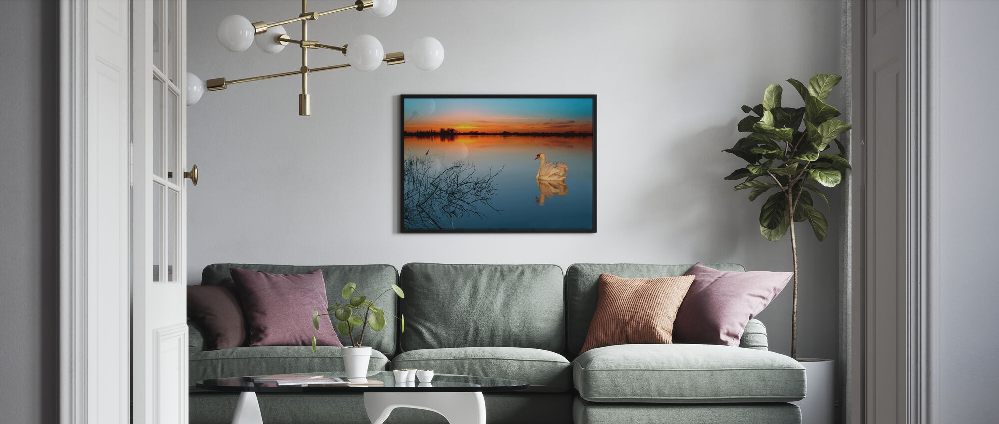 Swan on a lake - Poster - Living Room